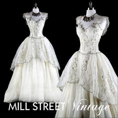 1940s 40s Vintage Dress  Organza Metallic...Love the details. Pick 1-3 details to recreate in your wedding dress.