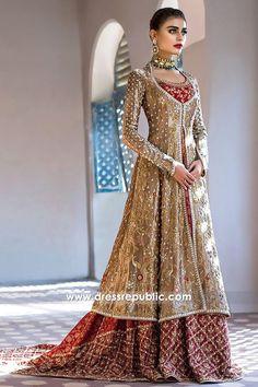Sania Maskatiya Bridal Dresses 2017 UK Shop Wedding Lehenga Choli at Dress Republic Custom haute couture design solutions available. Walima Dress, Pakistani Formal Dresses, Pakistani Outfits, Indian Dresses, Indian Outfits, Latest Bridal Dresses, Muslim Wedding Dresses, Bridal Outfits, Indian Wedding Gowns