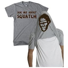 Hahahaha  Ask Me About My Bigfoot T Shirt Funny Sasquatch Flipup Tee / Ratuken.com - $10
