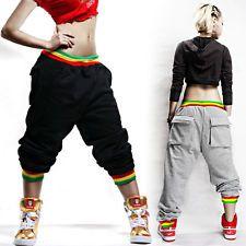 Men's Womens Casual Hip-hop Baggy Dance Harem Pants Crotch Collapse Sweatpants