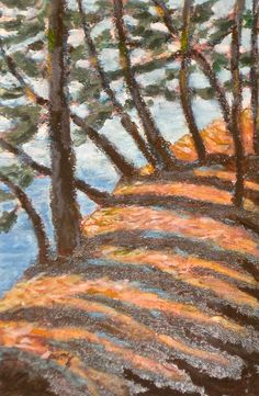 Shoveling Snow, Oil Pastel Art, Acrylic Box, Good Times, Art Work, Island, Landscape, Drawings, Pictures