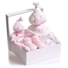 Bam Bam baby girls four piece gift set with a large duck rattle toy, pink baby socks, teether toy and adorable dou dou comforter. With a soft gel filling the star shaped teething toy is easy for little hands to hold and comforting to chew. The pale pink socks are soft and warm with 'dancing feet' printed on the soles in rubberized letters, and the sweet duck rattle toy and comforter are made from super soft fleece, ideal for cuddling. The set comes presented in a pretty box, making it the…