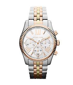 Michael Kors Ladies Lexington Tri-Tone Chronograph Watch | Dillard's Mobile
