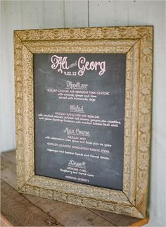 chalkboard sign, wedding receptions, dinner menu, vintage frames, menu sign, frame chalkboard, gold framed chalkboard, seating charts, chalkboard menu