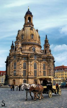 The Frauenkirche (or Lady's Church) in Dresden, Germany. This is a recent reconstruction that exactly replicates the 18th century baroque church that was totally destroyed during the British bombings of Dresden during World War II. Magnificent!