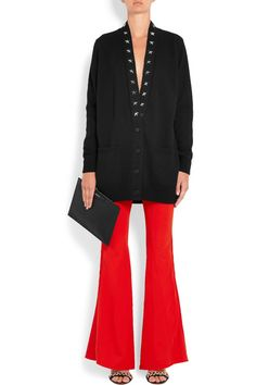 GIVENCHY sophisticated Satin-trimmed stretch-crepe flared pants
