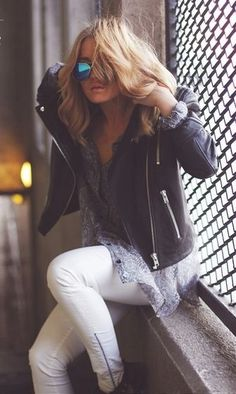 white denim + biker jacket