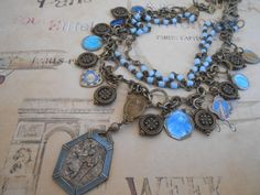 Blue Enamel Religious Medal Necklace, Charm, Repurposed Vintage Rosary, Catholic Saints, Saint Christopher, Recycled, Upcycled