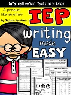Writing an IEP can be overwhelming for any special education teacher. I have created some tools to assist in gathering data as well as organizing that data into an IEP (Individualized Education Plan) document.