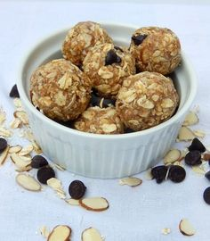 Almond Joy Oatmeal Energy Bites. Need an energy boost? Try these Almond Joy Oatmeal Energy Bites when you are in need of a healthy snack that will actually fill you up and keep you going. Peanut free, gluten free and dairy free!