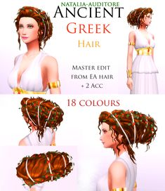The Sims 4 Patreon Natalia-Auditore Sims 4 Game Mods, Sims Mods, Roman Hair, Greek Hair, Sims Medieval, The Sims 4 Cabelos, Pelo Sims, Sims 4 Gameplay, Sims4 Clothes