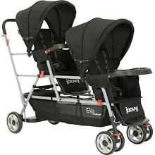 Double stroller with stand for 3rd child