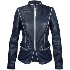 da5cc77161f7 Shop for Navy Blue Calf Leather Zip Jacket by Forzieri at ShopStyle.