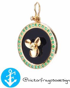 This ornate Propeller is set on a black onyx based inlayed 12 Green Emeralds. Naturally, the 14k Gold propeller in the center and spins freely as it should. #victorfragosodesign #nautical #miamibeach #keywest #jewelry #gold #miami #picoftheday http://ow.ly/dpJf300M1bj