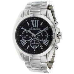Michael Kors Womens Bradshaw Polished Silver Tone Stainless Steel Black Dial Chronograph Watch 1 of 1 Ladies Watches With Price, Swiss Watches For Men, White Watches, Watches Photography, Watch Sale, Quartz Watch, Michael Kors Watch, Chronograph, Bracelet Watch