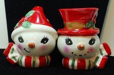 VTG LEFTON Mr & Mrs Snowman Christmas Salt Pepper Shakers Paper Tag | eBay