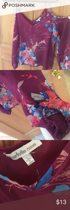 BNWT Charlotte Russe off-the-shoulder shirt Beautiful BNWT maroon floral sheer top from Charlotte Russe. Size large. spaghetti straps keep top up but sleeves drape off the shoulders. Smoke free home. Charlotte Russe Tops Tees - Long Sleeve