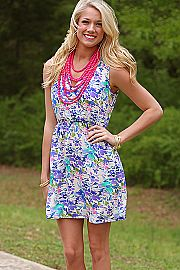 Watercolor Floral Dress, Ivory