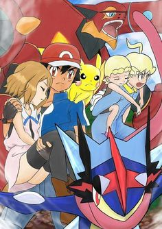 Ash and Pikachu with their Kalos friends #Amourshipping ^.^ ♡ Kudos to whoever made this fan art