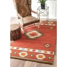 nuLOOM Hand-tufted Southwestern Wool Wine Rug (5' x 8') - 16206146 - Overstock.com Shopping - Great Deals on Nuloom 5x8 - 6x9 Rugs