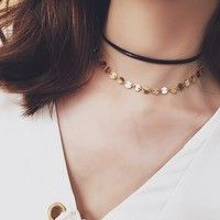 Sexy Bohemian Double Chain Leather Coin Sequin Tattoo Choker Necklace