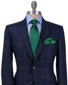 Image of Belvest Navy with Green Windowpane Sportcoat