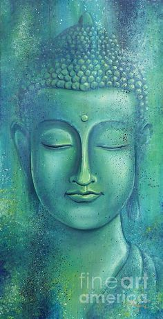 """""""Live with no sense of 'mine,' not forming attachment to experiences."""" ~ The Buddha, Sutta Nipata Art by: Gayle Utter Title: Within the Depths of Silence ♥ lis Buddha Face, Buddha Zen, Buddha Buddhism, Buddhist Art, Budha Painting, Art Asiatique, Painting Inspiration, Canvas Art, Painting Canvas"""