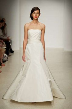 Camden by Amsale - Silk radzimir strapless fit to flare gown with exaggerated sash in back