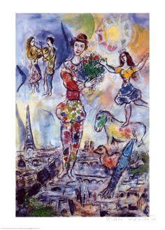 Sur les toits de Paris Posters par Marc Chagall sur AllPosters.fr #marcchagall #Marc-Chagall #Chagall http://www.johanpersyn.com/chagall-cubist-colours/