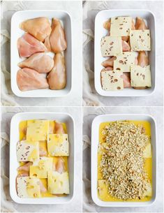 Creamy Swiss Chicken Bake is the easiest weeknight dinner. This creamy chicken bake recipe has just 5 ingredients and virtually zero cleanup! Swiss Chicken Casserole is an easy chicken dinner recipe for any occasion. Swiss Chicken Bake, Creamy Chicken Bake, Easy Chicken Dinner Recipes, Baked Chicken Recipes, Chicken Meals, Turkey Recipes, Herb Stuffing, Stuffing Mix, Granny's Recipe