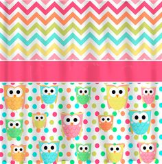 CUSTOM OWL and Chevron Shower Curtain  Multi color by redbeauty, $78.00