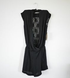 NWT ZARA JUMPSUIT WITH LACE BACK BLACK SIZE XS