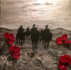 ANZAC DAY Painting by remembrance artist Jacqueline Hurley 'For The Light Horse And Walers, The Poppies Grow' Lest We Forget Anzac, Anzac Poppy, Remembrance Day Poppy, Royal British Legion, Original Art, Original Paintings, Remember The Fallen, Poppies Tattoo, Anzac Day