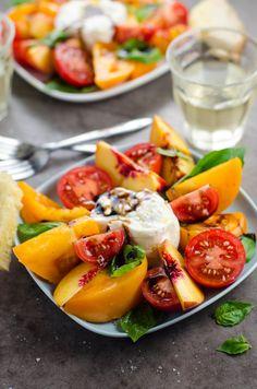 Tomato Nectarine Burrata Salad via @umamigirl