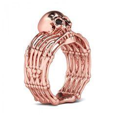 Rose Gold Black Diamond Rhodium Plating Sterling Silver Skull Ring
