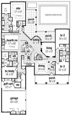 First Floor Plan of Craftsman   Southern   Traditional   House Plan 65642 #pin_it @mundodascasas