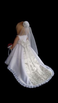 American Girl Doll Wedding Dress Satin and Silver. Ready to ship. This doll wedding set would make a beautiful flower girl gift! This Wedding Dress American Girl Doll Costumes, American Girl Dress, American Doll Clothes, Girl Doll Clothes, Girl Dolls, American Girls, Wedding Set, Princess Wedding, Wedding Dress