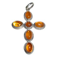 1stdibs | Vintage Sterling and Amber cross pendant