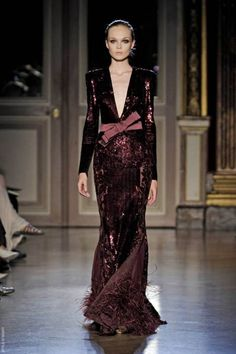 Zuhair Murad Fall winter 2011-2012  Zuhair Murad created  romantic dresses and sexy outfits using sheer matirials combined with silk, stain velvet, delicate lace sequinces and glitter. - via @kennymilano