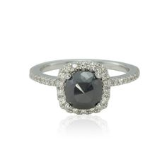 Rose Cut Black Diamond Engagement Ring with Hidden Diamond Leaves - LS4330