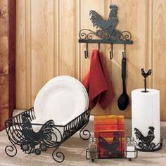Rooster Kitchen Decor Collection Black Metal Country Farm Rustic Primitive NEW Rooster Kitchen Decor, Rooster Decor, Primitive Kitchen, Country Farm Kitchen, Chicken Kitchen, Kitchen Themes, Kitchen Ideas, Country Decor, Country Crafts