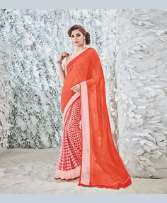Orange Georgette Printed Saree With Blouse 78904