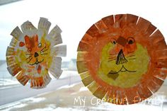 Paper plate lions    When (If!!) I ever let Mae use the scissors, this would be a good beginning practice craft.
