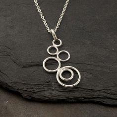 Silver Circles Necklace Modern Artisan Pendant Handmade by Artulia, $68.00