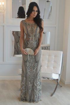 vestido de festa longo cinza