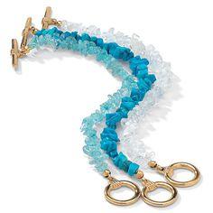 Get the hottest new wrist-look with this genuine gemstone three-piece set featuring blue topaz, white quartz and reconsPrice - $19-HATfD3eg