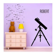 Large Telescope and the Stars and Your Name wall by cutnpasteshop, $55.00