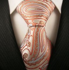 Neckties by Scott Allan, 100% Woven Mens Tie, Orange and Blue Paisley Neckties, $14.99