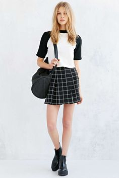 Silence + Noise Inverted Pleated Mini Skirt - Urban Outfitters