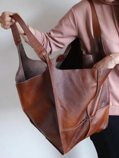 Large Leather Tote Bag, Leather Purses, Soft Leather Handbags, Brown Leather Totes, Leather Bags, Pink Leather, Foldover Bag, Matt Brown, Piel Natural